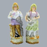 Antique Victorian Fisherman And Lady Bisque Figurine Basket Of Fish Statue Pair