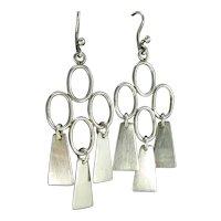 Vintage Sterling Modernist Oval Dangle Earrings Silver Pierced Dangle