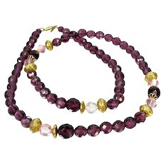 Vintage Amethyst Purple & Pink Necklace 1928 Jewelry Co Faceted Glass Beads