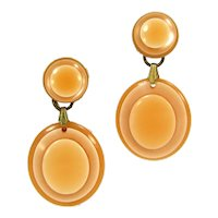 Vintage Orange Peach Laminated Lucite Earrings Clip One Mod Layered Plastic