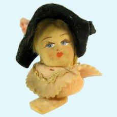 Vintage LENCI Doll Head Ornament Italy Girl Black Felt Hat