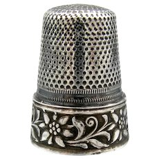 Vintage Sterling Thimble German Embossed Tooled Silver Thimble Sz. 8 Edelweiss Flower