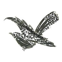 Antique 900 SILVER FILIGREE Brooch Cannetille Wirework Figural Pin Signed SI
