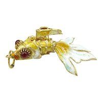 Vintage Chinese Export Articulated Enamel Fish Charm Yellow Turquoise Blue