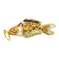 Vintage Chinese Export Articulated Enameled Fish Charm Orange Black