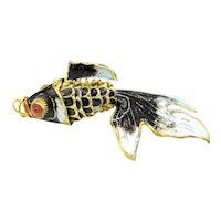 Vintage Chinese Export Articulated Enamel Fish Charm Black Turquoise Blue