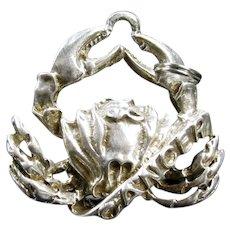 Vintage DANECRAFT CANCER CHARM Sterling 3-d Crab Figural Silver Pendant
