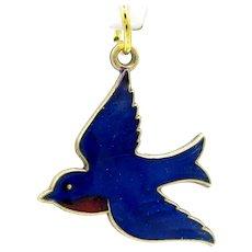 Vintage Enameled Blue Bird Charm Gold Filled Bluebird Pendant