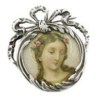 Vintage Sterling Bow Photo Frame Pin Religious Mary Picture Silver Brooch
