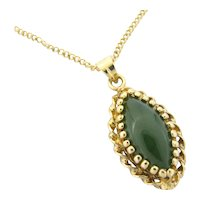 Vintage Chinese Export Silver Vermeil Jade Pendant Gold Filled Chain Necklace 18""
