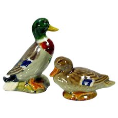 Vintage Rosemeade Mallard Duck Salt & Pepper Shakers Figurine N. Dakota Pottery