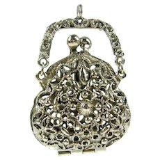 Vintage Art Jewelry Co Purse Pendent Silver Filigree Perfume Vinaigrette Coin