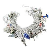 Vintage Sterling 33 Charm Bracelet Travel Enamel Holiday Movable Bakelite Dice