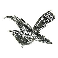 Intricate 900 SILVER FILIGREE Brooch Cannetille Wirework Figural Pin Signed SI