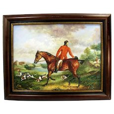 Vintage Fox Hunt Painting Signed Maxwell Horse Beagle Dogs