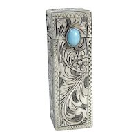 Fab Italian 800 Silver Lipstick Holder Mirror Tooled Floral Florence Italy Turquoise Clasp