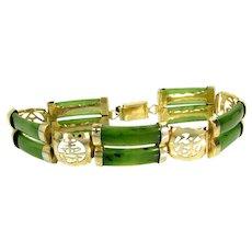"""Vintage Jade Gold Filled Panel Bracelet Chinese Symbols 7 7/8"""" Long"""
