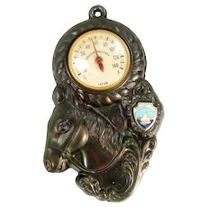 Vintage Kentucky Lake Horse Souvenir Advertising Thermometer Copper Pot Metal Japan