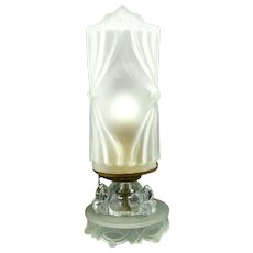 Vintage Art Deco Lamp Frosted Bullet Shade Glass Ball Base