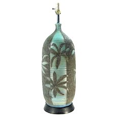 Fab Quartite Creative Corp MCM Table Lamp Aqua Black Textured Leaf
