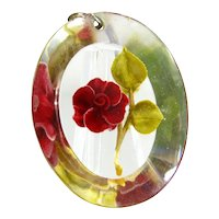 Vintage Reverse Carved Rose Pendant Lucite Hand Painted Flower Large Charm