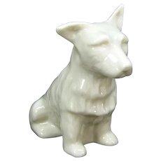 Vintage Irish Belleek Scottish West Highlands Terrier Figurine Porcelain Dog Figure