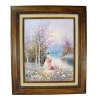 Impressionist Young Girl Picking Flowers Painting Signed Walton Floral Stream