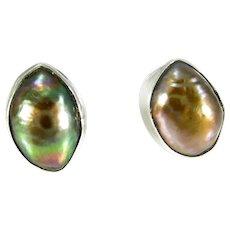 Vintage Sterling Peacock Black Freshwater Pearl Stud Earrings