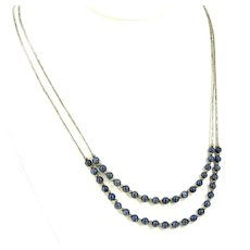 """Lapis Lazuli Liquid Silver Necklace Stone Beads 2 Strand Sterling 20"""""""