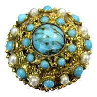 Vintage Faux TURQUOISE PEARL Pin Gold Tone Filigree Domed Brooch