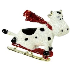 Vintage Danecraft Cow On Sled Brooch Figural Sparkling Holiday Christmas Pin