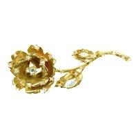 1996 RJ GRAZIANO RHINESTONE ROSE Pin Gold Tone Aurora Borealis Vintage Brooch