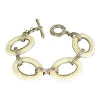 "Vintage Monet Faux Ivory Acrylic Link Bracelet Molded Floral Gold Tone 7.5"""