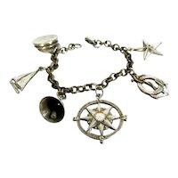 Vintage CORO HTF Nautical Charm Bracelet Silver Tone