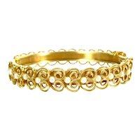 Vintage FAUX PEARL FILIGREE Bangle Gold Tone Hinged Bracelet