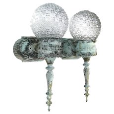 Vintage Torch Sconce Pair Patinated Brass Cast Metal Glass Ball Shade Sconces 2