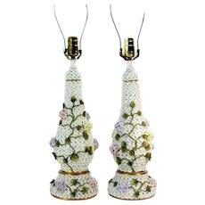 Amazing Meissen Style Schneeballen Porcelain Floral Table Lamps Pair Elfinware