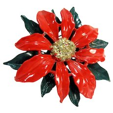 Gorgeous Red Enameled Poinsettia Pin Green Japanned Metal