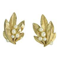 Vintage CROWN TRIFARI Faux Pearl Leaf Wreath Earrings Clip On Designer Signed