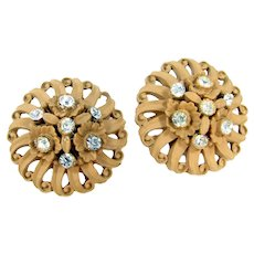 Vintage Featherlight Rhinestone Earrings Floral Lt. Cocoa Celluloid Clip On