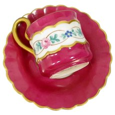 Vintage Occupied Japan Demitasse Cup & Saucer Hand Painted Flowers Roses Gold Trim