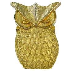 Vintage BRASS OWL WALL Clip Cast Metal Mid Century Modern Mod Figure