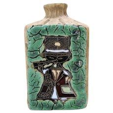 Amazing MARCELLO FANTONI Lava Bottle Vase Enameled Lava Man Playing Horn