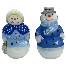Fab Mr. & Mrs. Snowman Figures Fenton Art Glass Painted Figure Paperweights Blue