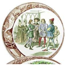 Antique Utzschneider Sarreguemines Joan Of Arc Plate Set Plates 6 Jeanne d'Arc