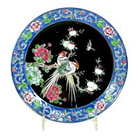 Vintage Japanese FAMILLE ROSE Style Plate Bird Fruit Floral Blue Black Antique Signed