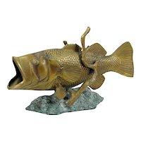 Vintage Bronze Large Mouth Bass Sculpture Brass Fish Statue