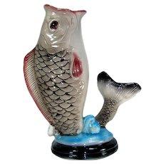 """Vintage Fish Floor Vase Figure 15.5"""" Sculpture Figural Umbrella Stand Cane Holder"""