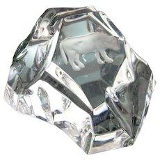Vtg VAL ST LAMBERT TAURUS Bull Paperweight Crystal Art Glass Zodiac Sculpture