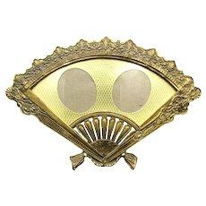 Vintage Hand Fan Double Photo Frame Brass Gold Ormolu